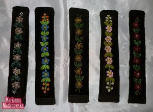 Bransolety łowickie zdobione kolarikowym haftem ręcznym wykonane przez twórczynię Mariannę Madanowską