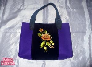 Nowa haftowana ręcznie torebka damska ze złotą różą i innymi kwiatami