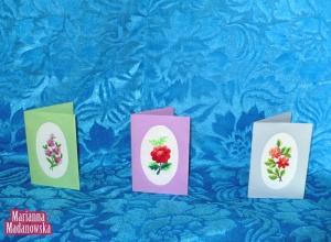 Pocztówki z łowickim haftem ręcznym wykonane przez Mariannę Madanowską