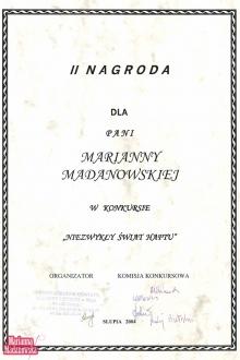 Druga nagroda dla Marianny Madanowskiej w konkursie Niezwykły Świat Haftu w Słupii w 2004 roku