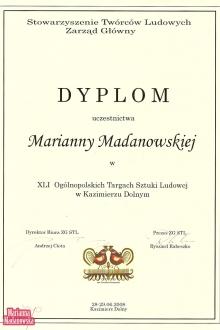 Dyplom dla Marianny Madanowskiej za udział w XLI Ogólnopolskich Targach Sztuki Ludowej w Kazimierzu Dolnym