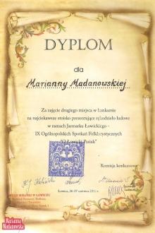 Dyplom dla Marianny Madanowskiej za zajęcie drugiego miejsca w konkursie na najciekawsze stoisko prezentujące rękodzieło ludowe - Jarmark Łowicki 2010