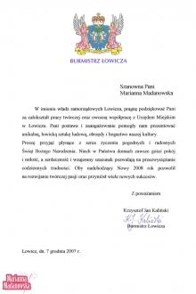 Podziękowanie dla Marianny Madanowskiej od burmistrza Łowicza za całokształt twórczości i współpracę z Urzędem Miejskim w Łowiczu