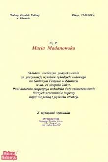 Podziękowanie dla Marianny Madanowskiej od Gminnego Ośrodka Kultury w Zdunach za udział w Gminnym Festynie