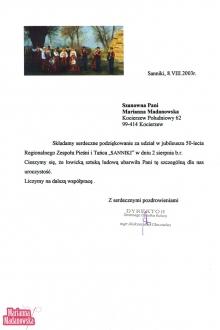 Podziękowanie dla Marianny Madanowskiej od GOK w Sannikach za udział w jubileuszu 50-lecia Regionalnego Zespołu Pieśni i Tańca SANNIKI