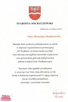 Podziękowanie dla Marianny Madanowskiej od Starosty Sochaczewskiego za udział w imprezie: III Wielkanoc na Ziemi Sochaczewskiej