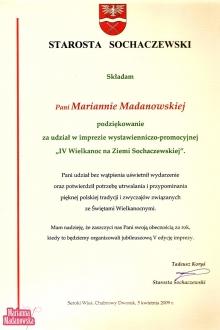 Podziękowanie dla Marianny Madanowskiej od Starosty Sochaczewskiego za udział w imprezie: IV Wielkanoc na Ziemi Sochaczewskiej