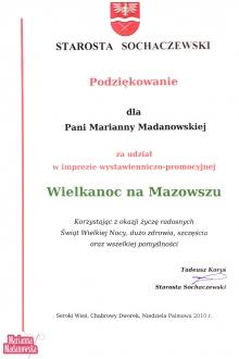 Podziękowanie dla Marianny Madanowskiej od Starosty Sochaczewskiego za udział w imprezie Wielkanoc na Mazowszu