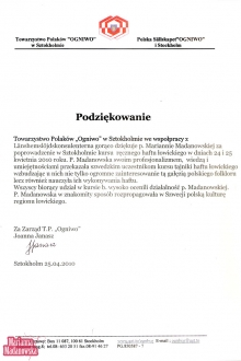 Podziękowanie dla Marianny Madanowskiej od Towarzystwa Polaków Ogniwo w Sztokholmie za poprowadzenie w Sztokholmie kursu ręcznego haftu łowickiego