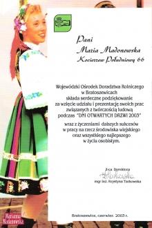 Podziękowanie dla Marianny Madanowskiej od WODR w Bratoszewicach za udział w Dniach Otwartych Drzwi 2003