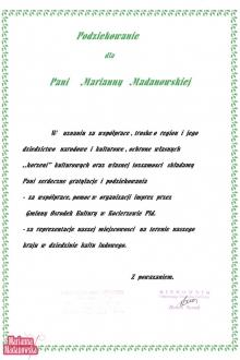 Podziękowanie dla Marianny Madanowskiej za całokształt współpracy i reprezentowanie miejscowości Kocierzew Płd. w dziedzinie haftu ludowego