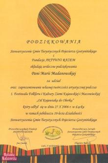 Podziękowanie dla Marianny Madanowskiej za udział w 1 Festiwalu Folkloru i Kultury Ziemi Kujawskiej i Mazowieckiej: Od Kujawiaka do Oberka