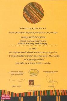 Podziękowanie dla Marianny Madanowskiej za udział w drugim Festiwalu Folkloru i Kultury Ziemi Kujawskiej i Mazowieckiej: Od Kujawiaka do Oberka