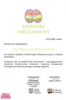 Podziękowanie dla Marianny Madanowskiej za udział w Kiermaszu Wielkanocnym w Galerii Łowickiej