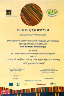 Podziękowanie dla Marianny Madanowskiej za udział w piątym Festiwalu Folkloru i Kultury Ziemi Kujawskiej i Mazowieckiej: Od Kujawiaka do Oberka