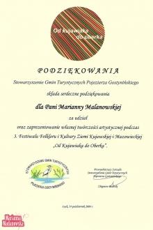 Podziękowanie dla Marianny Madanowskiej za udział w trzecim Festiwalu Folkloru i Kultury Ziemi Kujawskiej i Mazowieckiej: Od Kujawiaka do Oberka