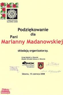 Podziękowanie dla Marianny Madanowskiej za udział w trzecim Jarmarku Artystycznym w Głownie w 2008 roku