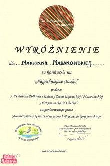 Wyróżnienie dla Marianny Madanowskiej w konkursie na Najpiękniejsze stoisko na 3 Festiwalu Folkloru i Kultury Ziemi Kujawskiej i Mazowieckiej w Łącku