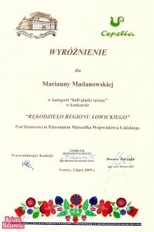 Wyróżnienie dla Marianny Madanowskiej w konkursie Rękodzieło Regionu Łowickiego w kategorii haft płaski ręczny